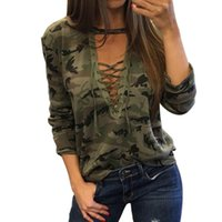 Wholesale red camo shirts - 7 COLOR Women Camouflage V Neck Lace Up Halter Top Shirt Sexy Shirts Ladies Loose Bandage Camo Tee Tracksuit Female