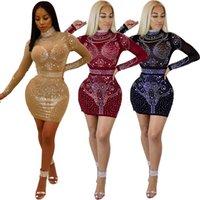 Wholesale Best Slimming Dresses - Best Designed Women Slim Bodycon Dress Long Sleeve Mesh Rhinestone Short Mini Dress Hip Up Party Elegant Dress