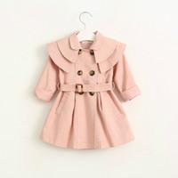ingrosso trincea rossa rosa-# K04397 Vestiti da bambina per trench Moda per bambini Outwear / 2-7 anni / Khaki, rosa, rosso