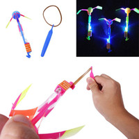 Wholesale flying arrow toys rocket for sale - Slingshot LED Helicopters Lighting in the Dark Rocket Copters Flying Arrow Helicopter Slingshot LED Helicopters Summer Party Toys for Kids