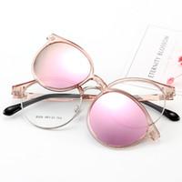 lente azul para gafas al por mayor-Cubojue Clip para mujer en gafas de sol Polarized Magnetic Lens Round Glasses Frame Pink Blue Mirrored Fit Over Myopia Eyeglasses