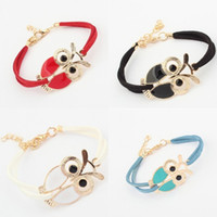 Wholesale Cute Clay Charms - Cute Retro Handmade Bracelets For Women 2017 Bohemian Hand Woven Velvet Owl Bangles With Lobster Clasp Free DHL D576L