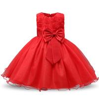 vestido de fiesta rojo infantil al por mayor-Baby Girls Red Flower Dress para la fiesta de año nuevo Infant Baby 1st Birthday Big Bow lentejuelas Ropa para niñas pequeñas Navidad Vestidos