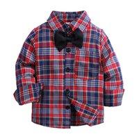 Hot Sale Plaid Shirts Child Kid Boys Girl Long Sleeve Buttons Pocket Tops Shirt Turn Down Collar Blouse Casual