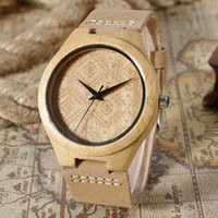 Wholesale Making Gift Tags - Fashion Nature Hand-made Quartz Wooden Watches Brown Bamboo Wristwatches with Genuine Leather Watchband Creative Watch for Men Best Gift