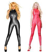 Wholesale sexy leather women costumes online - Sexy Black Red Wet Look zipper Faux Leather Jumpsuit Latex Catsuit Club wear Costumes Women Open Crotch Bodysuit Fetish Uniforms