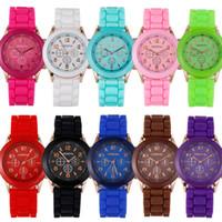 женские наручные часы силиконовой жены оптовых-Женева часы для мужчин женщин роскошные силиконовые часы Shadow мода унисекс силиконовые кварцевые розовое золото мужские платья наручные часы