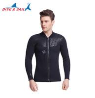 9131f062b7 Dive Sail 3MM Neoprene Long Sleeved Jumpsuit For Men Wetsuit Scuba Dive  Jacket Wet Suit Top Winter Swim Warm Surf Upstream Fishing UV