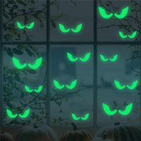 süs dekalseri toptan satış-2018 Sıcak Satış 18 Adet / takım Karanlıkta Parlayan Gözler Duvar Cam Sticker Cadılar Bayramı Dekorasyon Çıkartmaları Aydınlık Ev Süsler-Yeşil