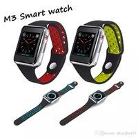 ogs ekranı toptan satış-MTK6261A CPU ile yeni M3 Akıllı Bilek İzle Smartwatch 1.54 inç LCD OGS kapasitif Dokunmatik Ekran SIM Kart Yuvası Kamera OTH912