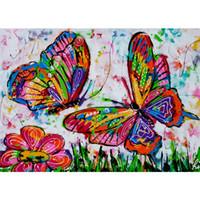 ingrosso punto croce farfalla-Diamante Ricamo 5D Pittura Diamante DIY Pittura digitale Colorato farfalla Punto Croce Strass Mosaico Murale YC286