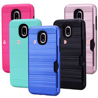 Wholesale express fitted - Brush Cards Slot Holder Hard TPU PC Case For Samsung Galaxy J3 2018 Express Prime 3 J7 2018 J737P Luxury Brushed Cell Phone Skin Cover 50pcs