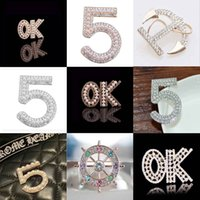 Wholesale Anchor Anniversary Gifts - Many Style Letters Number Boat Anchor Brooch Corsage Crystal Rhinestone Pearl Lapel Pins Brooches Women Party Jewelry Gift Costume Accessory