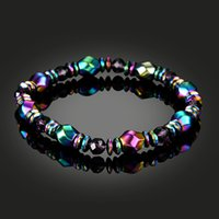 Wholesale magnetic healing - Magnetic Therapy Bracelets Hematite Stone Beads healing stone Bracelet Energy Bracelet Strand Statement Bracelet For Women Men D405Q