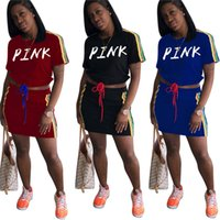 Wholesale blue races dress - Pink Letter Print Side Striped Drawstring Top & Skirt tracksuit love pink short bare midriff t-shirts sports Skirt dress Sportswear New 2018
