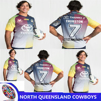 Wholesale Captain Shorts - NORTH QUEENSLAND COWBOYS 2018 THURSTON TESTIMONIAL JERSEY 2017 NRL Captain America thanks jt Rugby 2017 Cowboys rugby shirts size S-3XL