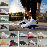 zapatillas de baloncesto de los hombres zapatos de descuento al por mayor-Alta calidad Air 13 wolf grey, Chicago zapatos de baloncesto rosa fatales blancos descuento zapatillas deportivas de baloncesto tamaño 5.5-13
