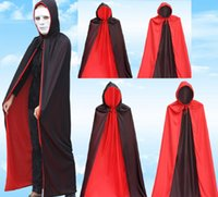 Wholesale costumes for magicians for sale - Group buy Men s Very Cool Vampire Costume Black Cloak with cap Halloween Costume Dress Cape for Vampire Magician Double face polyester cloak