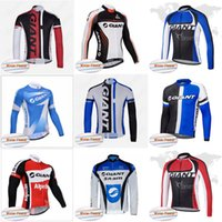 Wholesale Bicycle Giant Jersey Long - GIANT team Cycling Winter Thermal Fleece jersey long sleeve jacket Bicycle maillot bike MTB ropa Ciclismo cycle clothing D807