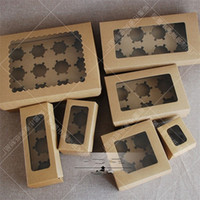 Wholesale Cupcakes Kraft Boxes - Muffin Cake Holders Kraft Paper Baking Packing Boxes Oblong Shape Cupcake Cookies Box 3 2ms7 Z R