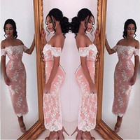 Wholesale cap shoulders fitted prom dresses - 2018 Sheath Mini Lace Cocktail Dresses Sexy Off Shoulder Appliques Fitted Tea Length Short Prom Dress Evening Gowns Mother Dress