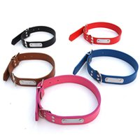 Wholesale pink leather dog collar large - Designer PU Leather 4 pure color simple Small Dog Collar Pet Puppy Cat Perro Adjustable Collar with Strong Buckle for dogs