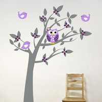 fondo de pantalla de árbol búho al por mayor-Owl Vinyl Tree Etiqueta de La Pared Calcomanías Mural Wallpaper Niños Habitación Del Bebé Nursery Dormitorio Sticker Árbol de Año Nuevo Decoración Del Hogar