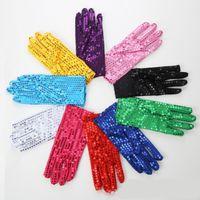 dans kıyafeti eldivenleri toptan satış-Noel Eldiven için Sparkly Sequins Bilek Eldiven Parti Dans Sahne Performansı Olay Çocuklar Kostüm Moda Kız Erkek Hediye