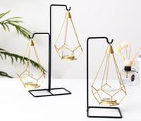 ingrosso candle decoration-Portacandele di lusso con luce nordica, tavolo in metallo, cimeli, coppette, coppette, coppette e ciondoli