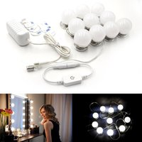 Wholesale vanity sets resale online - LED Vanity Mirror Lights Kit Style Makeup Mirror Lights with Led Bulbs Fixture Strip for Makeup Vanity Table Set Dimmer Power Supply
