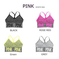 ingrosso maglia sportiva secca veloce-Love Pink Lettera Women Running Sports Bra Yoga Vest Quick-dry Shakeproof Top senza maniche Fitness Underwear Lady Crop Top LK05