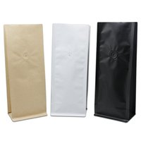 Wholesale valve opening - 30Pcs Open Top Kraft Paper Matte Black White Aluminum Foil Coffee Bean Packaging Side Gusset Bag Stand Up Pouch With Vent Valve