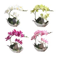 ingrosso bonsai di seta-Flower + Vase Artificial Orchid Silk Cloth Flower Bianco Viola Rosa Verde Bonsai Fiore con False Mountain Bonsai Vaso