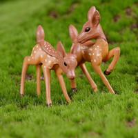 ingrosso artigianato decorazione giardino-Miniature Garden Decor Artificiale mini cervo fata giardino miniature artigianato figurine per la decorazione domestica Micro Paesaggio Fata Garden Decor