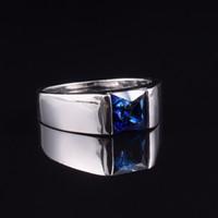natürliche saphirringe großhandel-Herren Eternity 925 Sterling Silber Square natürlichen blauen Saphir Stein Solitaire Ringgröße 8-12