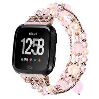 correas de reloj de la joyería al por mayor-Para Fitbit Versa Correa pulsera de pulsera de ágata correa de reloj de lujo Jewelry + Connector reloj inteligente rastreador accesorios