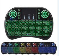 i8 luft maus großhandel-100pcs Rii i8 Backlit drahtlose Tastatur Mini-Tastatur i8 Hintergrundbeleuchtung Air Mouse Fernbedienung mit Touchpad für X96 Mini TX3 Mini