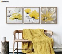 Wholesale Oil Painting Framed Abstract Yellow - Modern Abstrct Yellow Flower Wall Art Canvas Oil Painting Poster Wall Canvas Pictures For Girls Living Room Home Decor No Frame