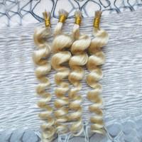 hint remy sarışın toptan satış-613 sarışın bakire saç ben İpucu saç uzantıları Gevşek Dalga füzyon uzantıları 100g / ipliklerini hint remy İnsan saç ön gümrük i-İpucu