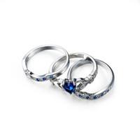 koyu mavi moda takı toptan satış-Luckyshine Sıcak satıcı Moda takı marka Kadınlar alyans Severler için Koyu Mavi Kalp şeklinde Zirkon Gümüş Kaplama 3 Adet Yüzükler Set