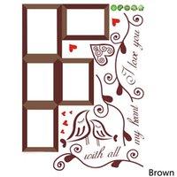 décor d'oiseaux d'amour achat en gros de-Mode Accueil Photo Cadre Loving Bird Love You Coeur Stickers Vinyle Stickers Muraux PVC Salon DIY Décor À La Maison