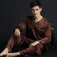 Wholesale plus size silk clothing online – Pajamas Spring Summer Autumn Men s Satin Silk Pyjamas Set Men Long Sleeve Male Sexy Sleepwear Leisure Home Clothing Plus Size