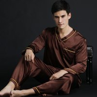 artı boyutu polyester pijama toptan satış-Pijama İlkbahar Yaz Sonbahar erkek Saten Ipek Pijama Set Erkekler Uzun Kollu Erkek Seksi Pijama Eğlence Ev giyim Artı Boyutu