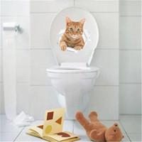 calcomanías de baño al por mayor-Vista de agujero Vivid Cats Dog 3D Etiqueta de la pared Cuarto de baño WC Sala de estar Decoración de la cocina Animal Vinyl Decals Art Sticker