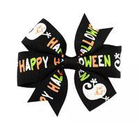 cintas de arcos para niñas al por mayor-Alta Calidad 3 pulgadas Bebé Halloween Grosgrain Arcos de la Cinta CON Clip Girls Kids Ghost Pumpkin Baby Girl Pinwheel Pinzas para el cabello Pin