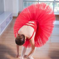 kadınlar için kırmızı tutus toptan satış-Kadın Bale Etek Üniformaları Profesyonel Tabağı Tutu Siyah Beyaz Kırmızı Bale Dans Kostüm Tutu Yetişkin 6 Katmanlar