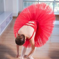 traje de ballet de tutu blanco al por mayor-Uniformes de Falda de Ballet Femenino Plato Profesional Tutu Negro Blanco Rojo Traje de Baile de Ballet Para Mujeres Tutu Adulto 6 Capas