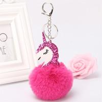 Wholesale toy suitcases - New Pattern PU Leatherwear Unicorn Hair Ball Key Ring Bag Pendant Cartoon Pony Suitcase Brooches Keys Chain 3ez W