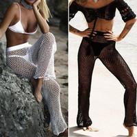 ingrosso set a maglia a mano-Costume da bagno bikini a rete da donna lavorato a maglia a vita lunga lavorato all'uncinetto da spiaggia a vita bassa lavorato a mano