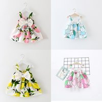 Wholesale summer flower dresses children beach - Baby girls suspender Lemon apple Printed dress 2018 summer Floral Children Bow Flowers princess dress Kids Clothing 4 colors C4235